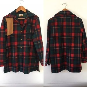 VINTAGE Plaid shirt jacket wool leather red green